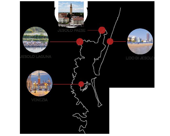Mappa Città di Jesolo, Jesolo Laguna, Jesolo Paese, Lido di Jesolo, Venezia